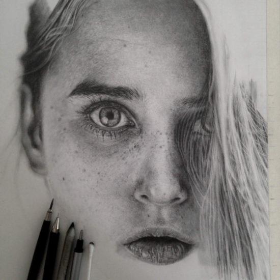 Dibujo blanco y negro 3D a lápiz (23)