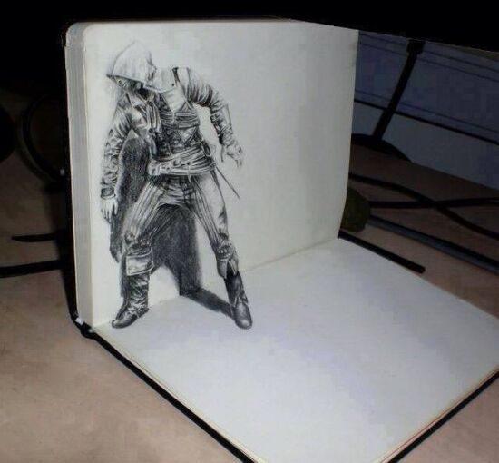 Dibujo blanco y negro 3D a lápiz (24)