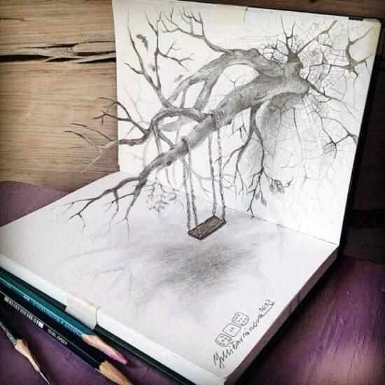 Dibujo blanco y negro 3D a lápiz (27)