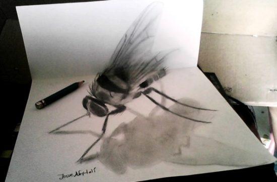 Dibujo blanco y negro 3D a lápiz (34)