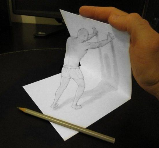 Dibujo blanco y negro 3D a lápiz (35)
