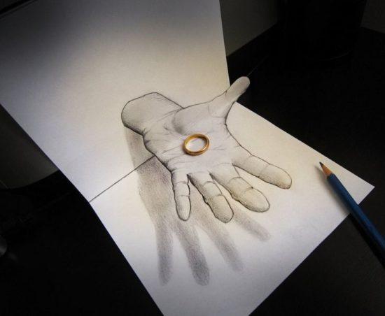 Dibujo blanco y negro 3D a lápiz (36)