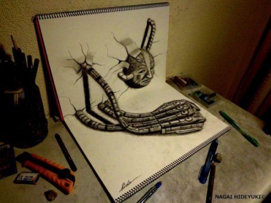 Dibujo blanco y negro 3D a lápiz (37)