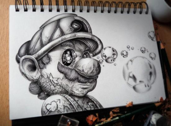 Dibujo blanco y negro 3D a lápiz (6)