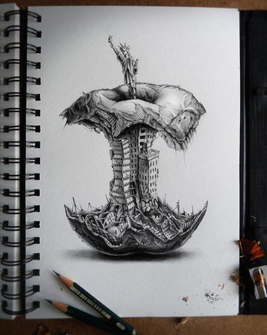 Dibujo blanco y negro 3D a lápiz (7)
