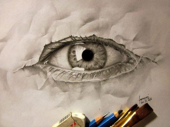 Dibujo blanco y negro 3D a lápiz (8)