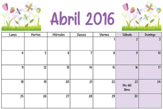 calendario abril 2016 para imprimir  (1)