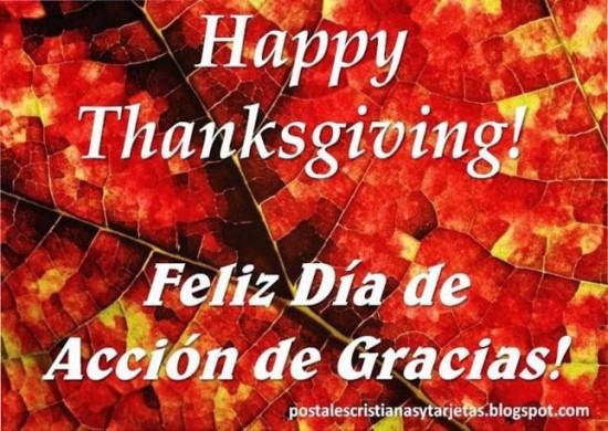 postal Feliz d_a Accion de gracias Happy thanksgiving 2