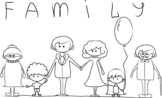 Día de la Familia para colorear imprimir (1)