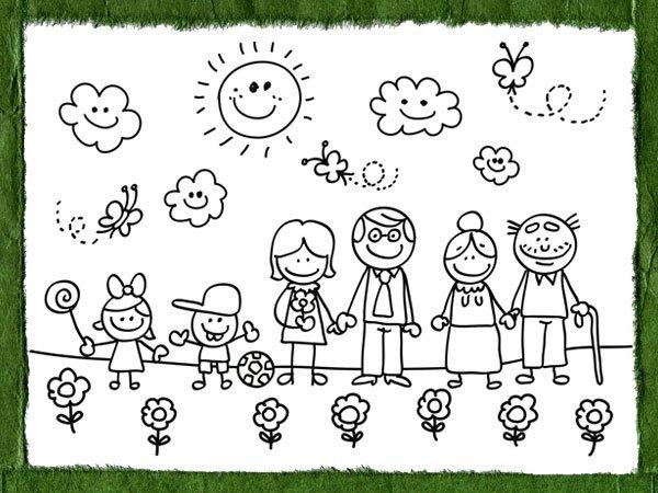 Dibujos infantiles del d a de la familia para colorear - Dibujos en la pared infantiles ...