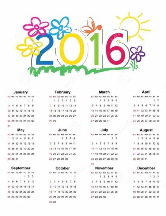 calendario 2016 con flores