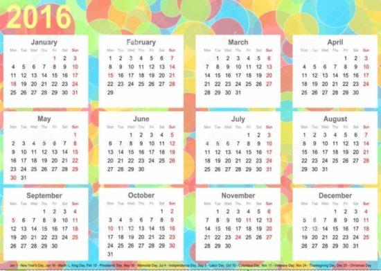 calendario 2016 colorido