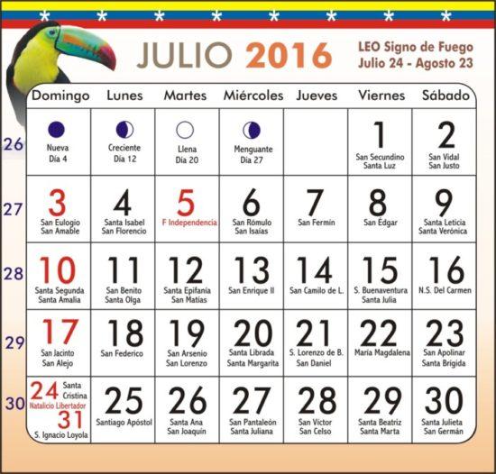 Calendario 2016 de Julio - descargar - imprimir (20)