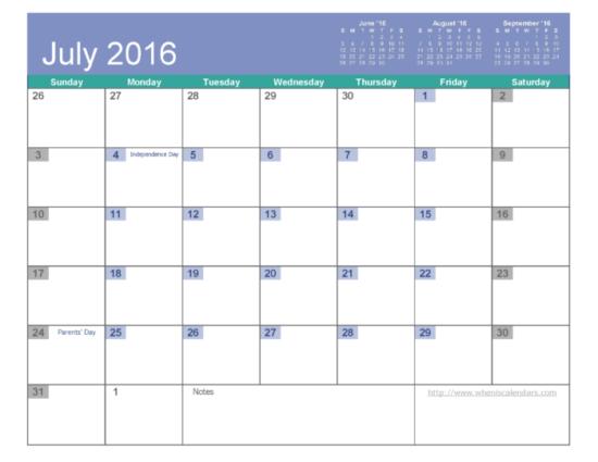 Calendario 2016 de Julio - descargar - imprimir (5)