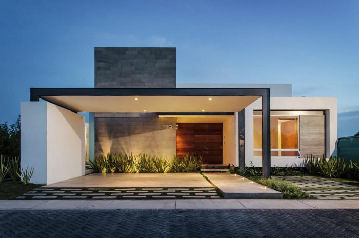 Fachadas de casas bonitas modernas de dos pisos simples for Casa minimalista de un piso