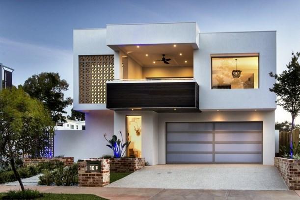 Fachadas de casas bonitas modernas de dos pisos simples Pisos modernos para casas minimalistas
