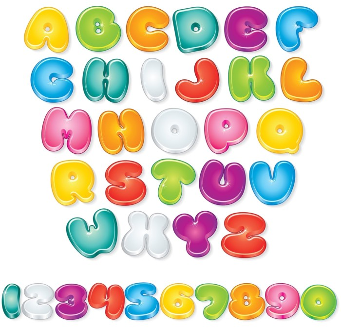 abecedario de letras de colores grandes