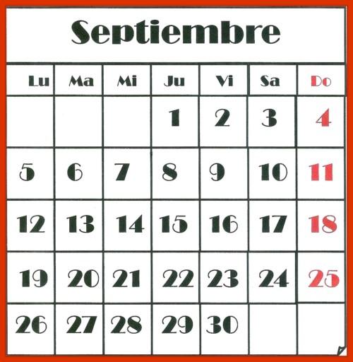 Calendario Numeros Grandes Septiembre 2019.Imagenes Con Calendarios Infantiles De Septiembre 2016