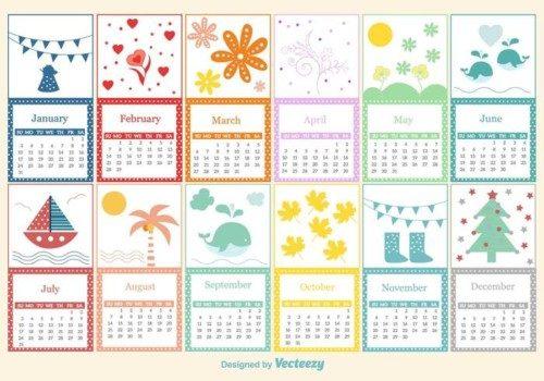 vector-childish-calendar-template