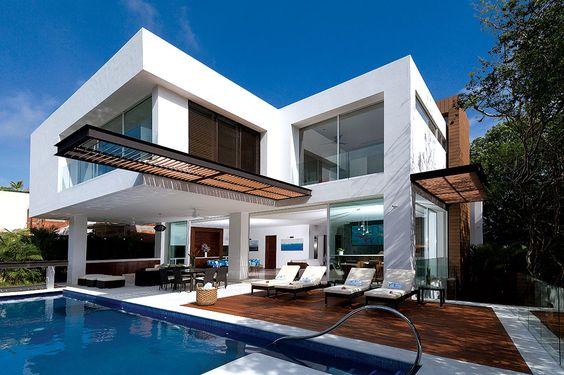60 fachadas de casas modernas peque as de un piso y dos for Casas modernas ladrillo