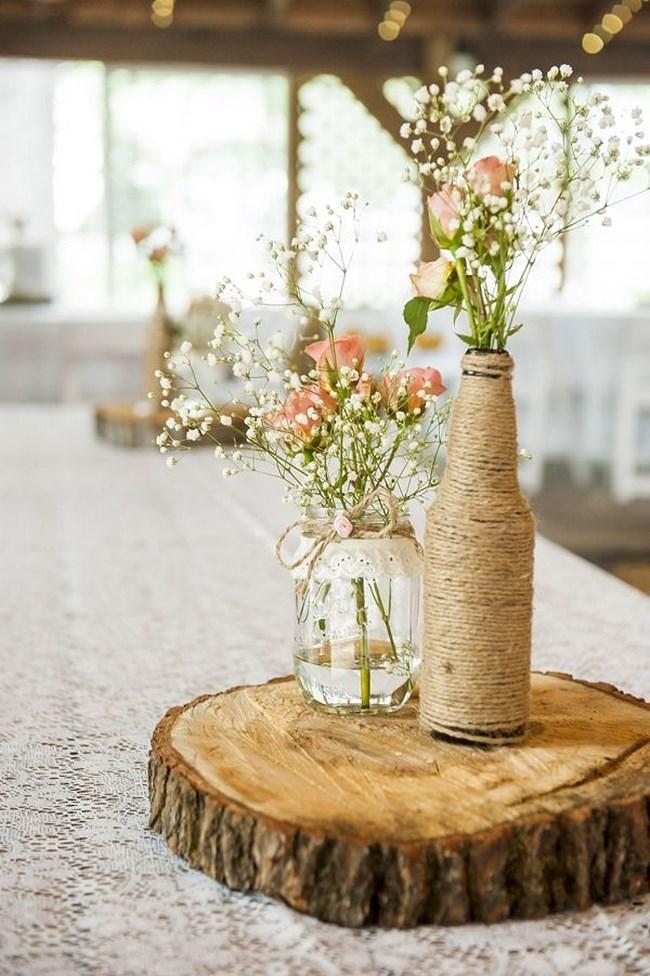 45 centros de mesa para boda con frascos botellas y velas for Adornos jardin baratos