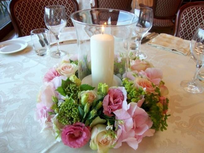 45 centros de mesa para boda con frascos botellas y velas informaci n im genes - Centro de mesa con flores ...