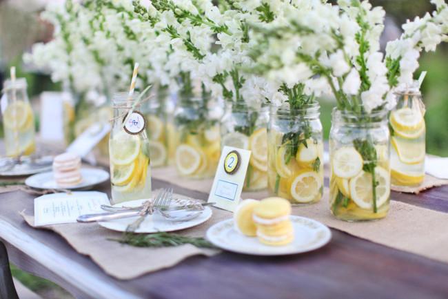 45 centros de mesa para boda con frascos botellas y velas - Centros de mesa con limones ...