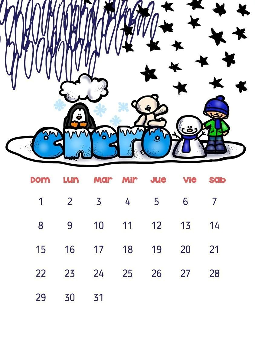 Calendarios 2017 para ni os con dibujos para descargar e - Mes de enero 2017 ...