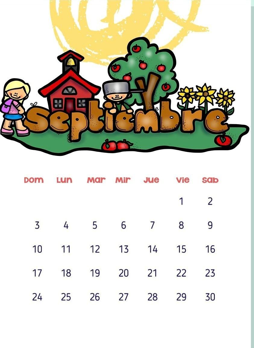 Calendario Dibujo Septiembre.Calendarios 2017 Para Ninos Con Dibujos Para Descargar E