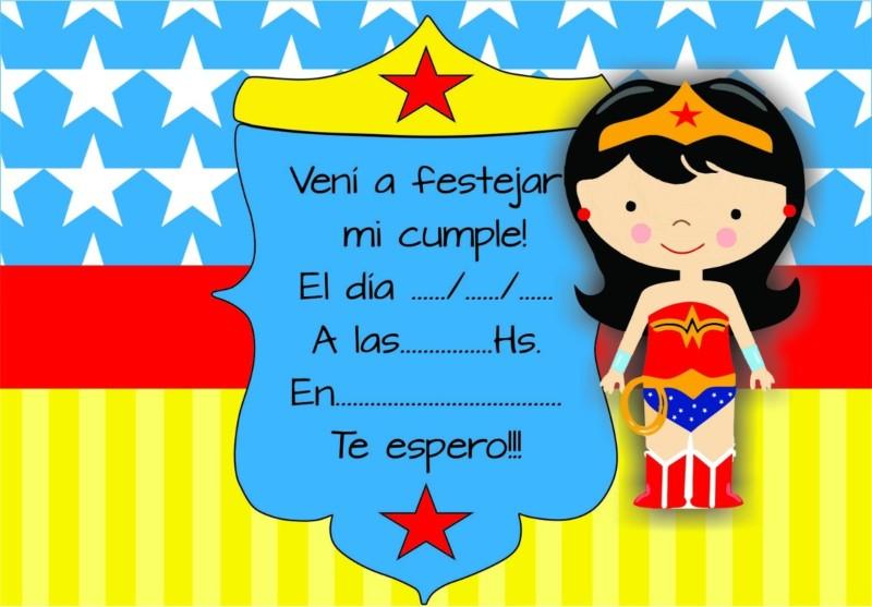 Mujer Maravilla Niña Animada: 91 Invitaciones De Cumpleaños Para Niños Y Niñas Para