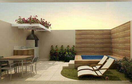 pequea piscina con un poco de espacio verde - Jardines Pequeos Con Piscina