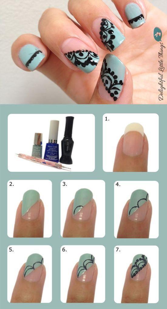 60 Diseños de uñas fáciles decoradas paso a paso muy hermosas ...