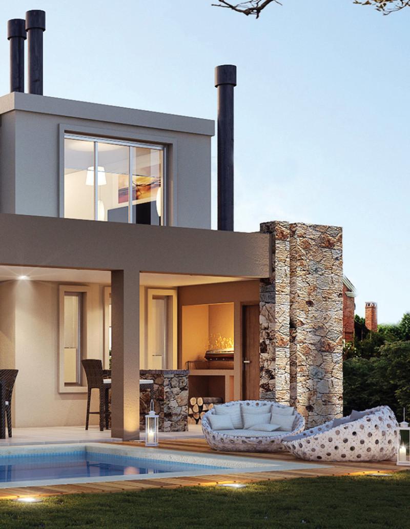 100 fachadas de casas con piedra modernas y minimalistas for Casa moderna quincho
