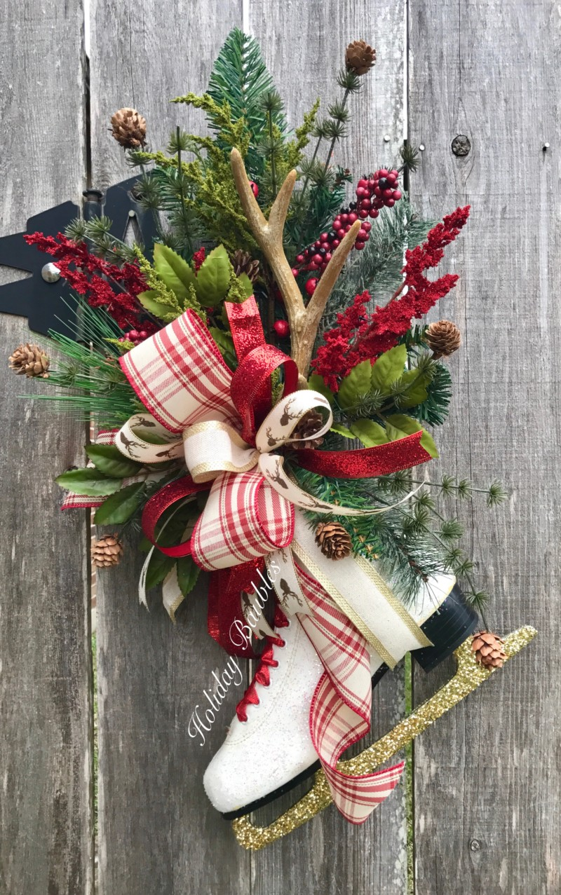 holiday christmas antler wreath - 736×1174
