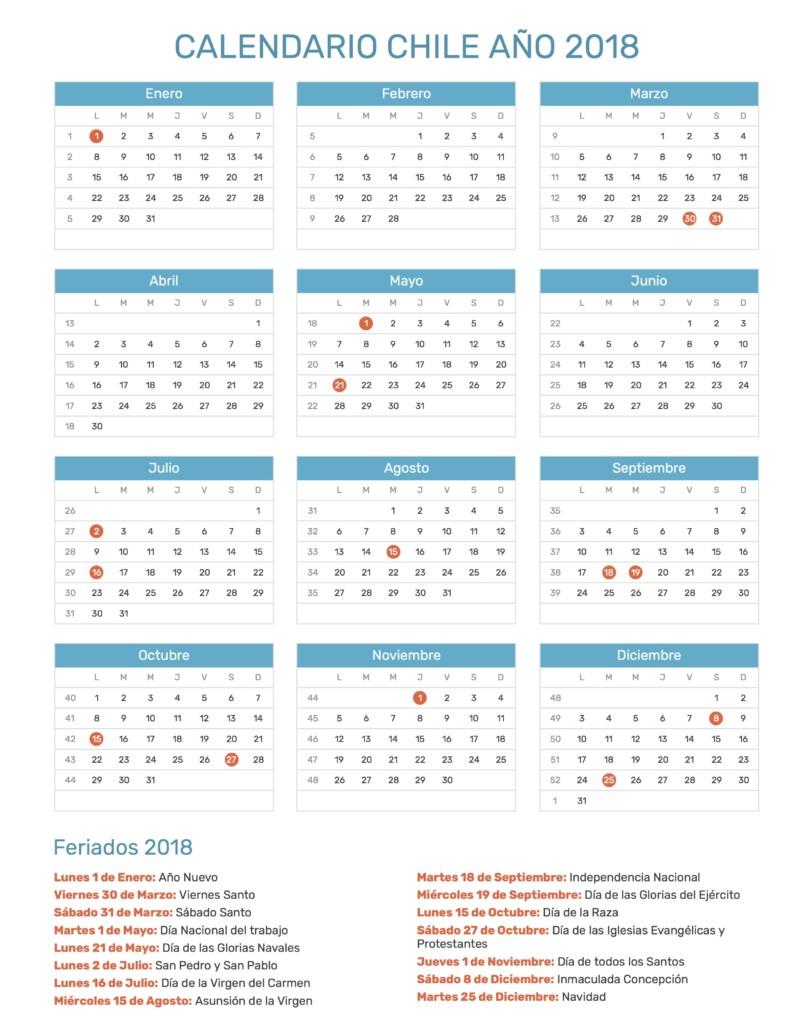 Calendario Diciembre 2018 Chile.Calendario 2018 Para Imprimir Anual Mensual Escolar