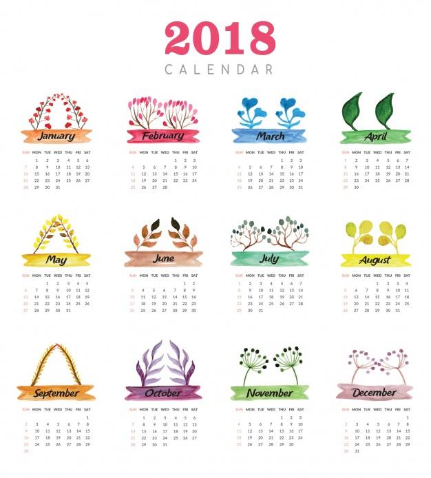 Calendario 2018 para imprimir anual mensual escolar for Almanaque de pared 2018