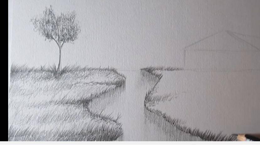 Paso 5 para aprender a dibujar paisajes a lapiz informaci n im genes - Casas dibujadas a lapiz ...