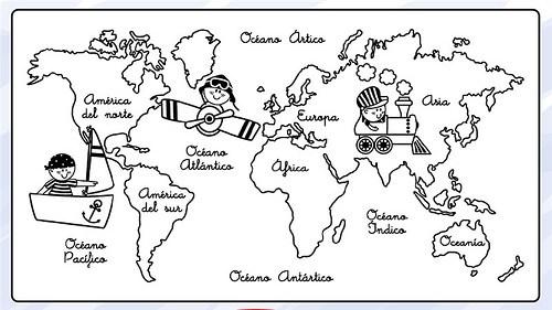 Mapamundi para imprimir para niños | Información imágenes
