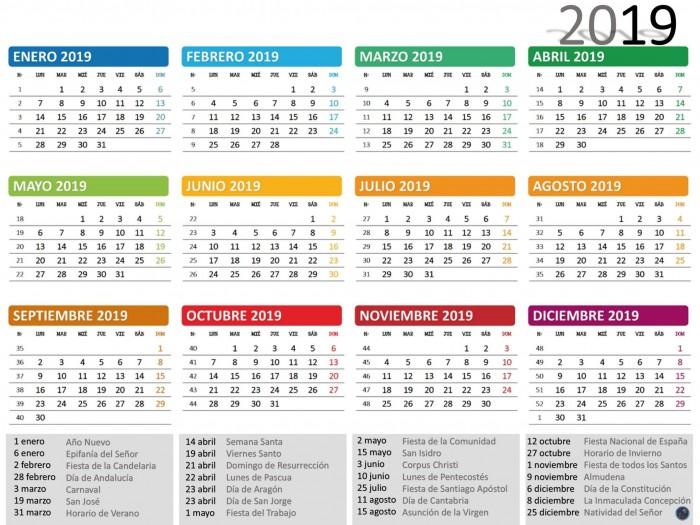 Calendario 2019 Chile Con Feriados Para Imprimir.Calendarios 2019 Para Imprimir Anual Y Mensual