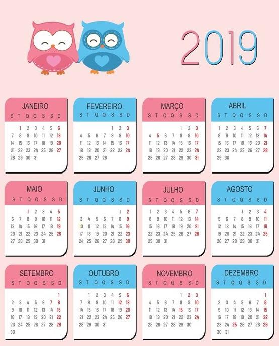 Calendario 2019 Para Imprimir.Calendarios 2019 Para Ninos Para Descargar E Imprimir