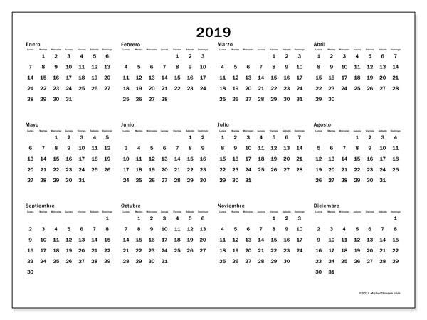 Calendarios 2019 Para Imprimir Anual Y Mensual