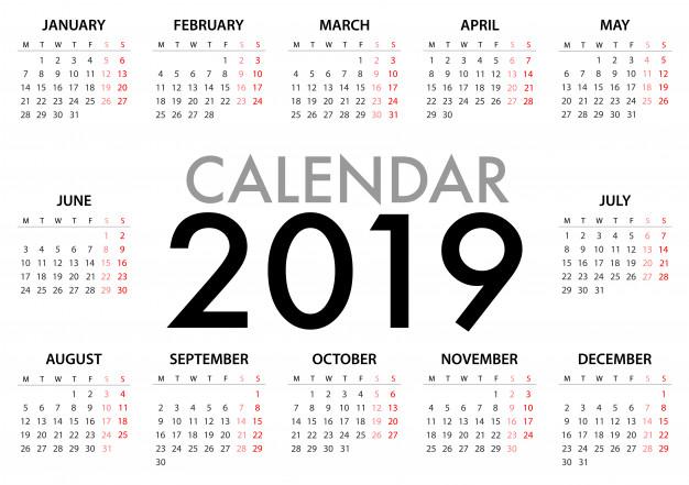 Calendario Con Semanas 2019 Chile.Calendarios 2019 Para Imprimir Anual Y Mensual