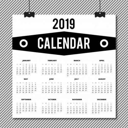Calendario Dibujo Blanco Y Negro.Calendarios 2019 Para Imprimir Anual Y Mensual